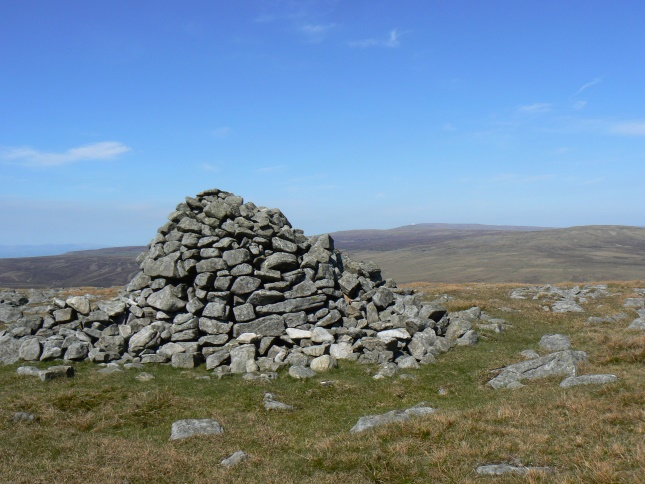 The large cairn on the summit of Mickle Fell