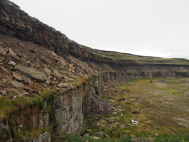 Harthope Head Quarry, the largest of a number of quarries on the flanks of Chapelfell Top