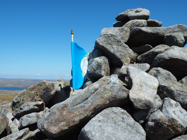 The small Yorkshire flag I found in the summit cairn on my second visit