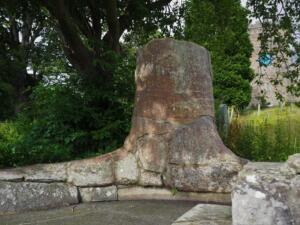 The fossilised tree in the churchyard