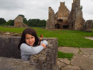 My daughter Rhiannon and Eggelstone Abbey