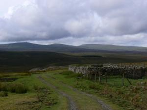 Cross Fell and the Dun Fells from the mine road