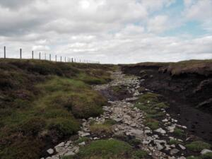 An easy part of the shallow ditch linking Fendrith Hill and Chapelfell Top