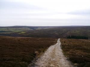 The track leading into the valley of Beldon Burn