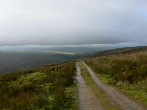 Looking back along the track as the cloud comes down