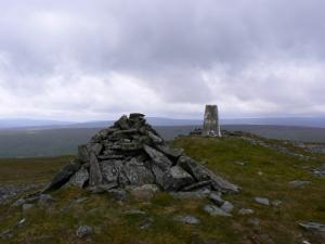 The cairn and trig point on the top of Great Stony Hill