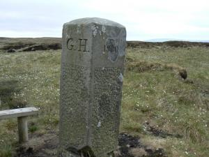 Boundary stone on Scraith Head