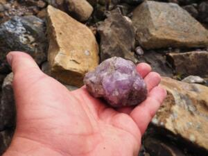 One of the large chunks of purple fluospar I found alongside Cash Burn