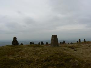 The trig point and cairn on Talkin Fell