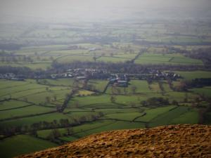 Looking down at Dufton from the top of Dufton Pike