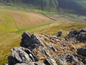The steep drop down from Brownber Hill's crag