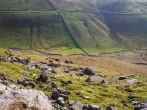 Looking down into Great Rundale from below Rossgill Edge
