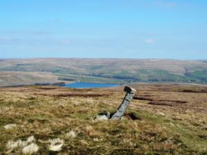 Burnhope Reservoir and a rather wonky boundary stone