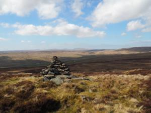 The cairn over looking the Harwood valley
