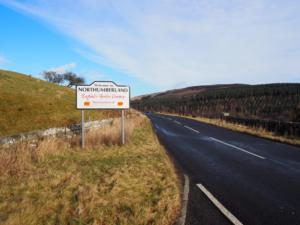 The Northumberland county sign by the layby