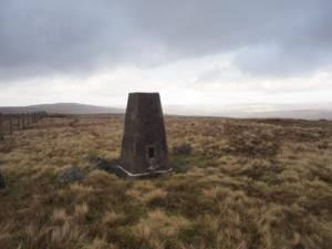 The trig point on the top of Black Fell