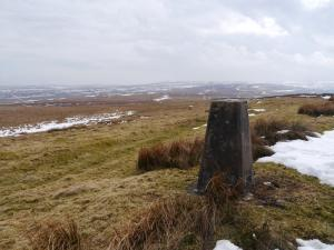 The trig point on the summit of Hard Rigg