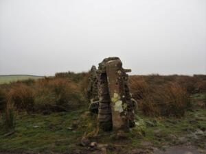 Taking shelter from another hail shower by this open gateway on the Pennine Way