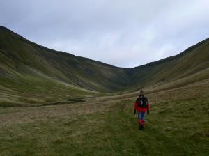 Lisa heading up High Cup Gill