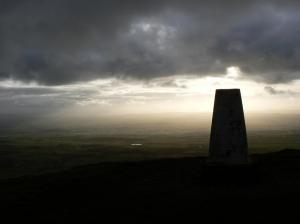The trig point on the top of Murton Pike