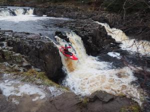 A canoeist drops down over Low Force