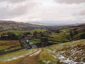 Looking down at Holwick and Teesdale