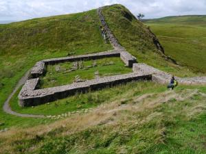 Looking down at the remains of Milecastle 39