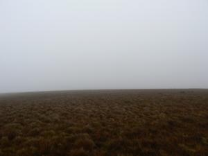 The featureless top of Iron Band in hill fog