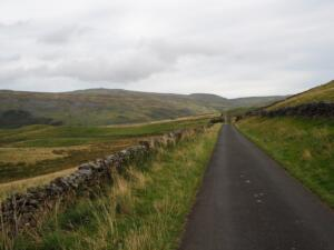 Climbing the Dun Fell road