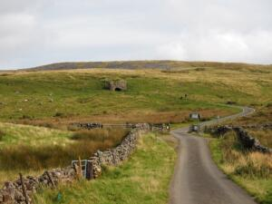 Approaching the cattle grid where I left the road