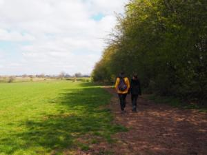 Following the fieldside path away from the stone circle