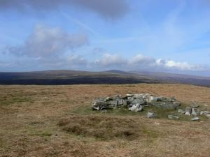 The summit of Meldon Hill looking towards Cross Fell and the Dun Fells
