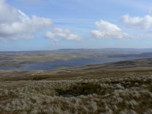 Looking down at Cow Green Reservoir