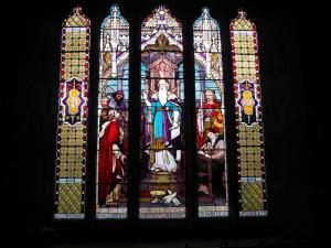 A stained glass window dedicated to Ralph Dent