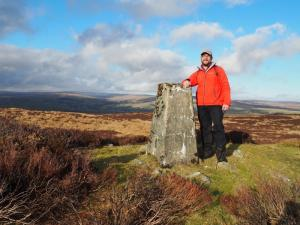 By the Romaldkirk trig point on Millstone Grits