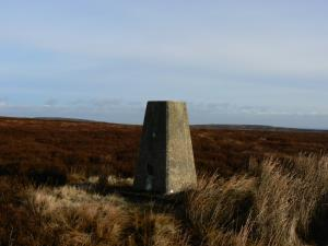 The Raven Hills trig point to the south of Monk's Moor
