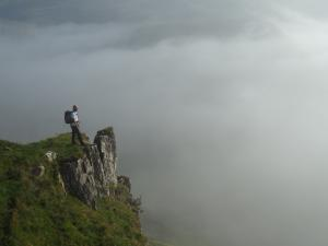 On an outcrop with a cloud filled Scordale below
