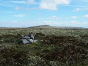 The small pile of stone marking the summit of Little Fell
