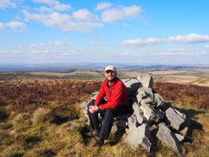 Sat on the summit cairn on Simmerson Hill