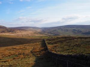 Descending Talkin Fell with Geltsdale ahead