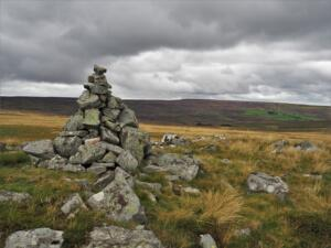 The first cairn I came across as I left the track
