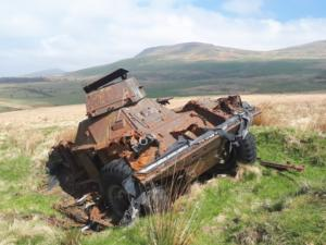 The rusted remains of an old armoured car