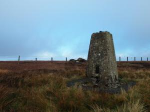 The trig point on the top of Westernhope Moor